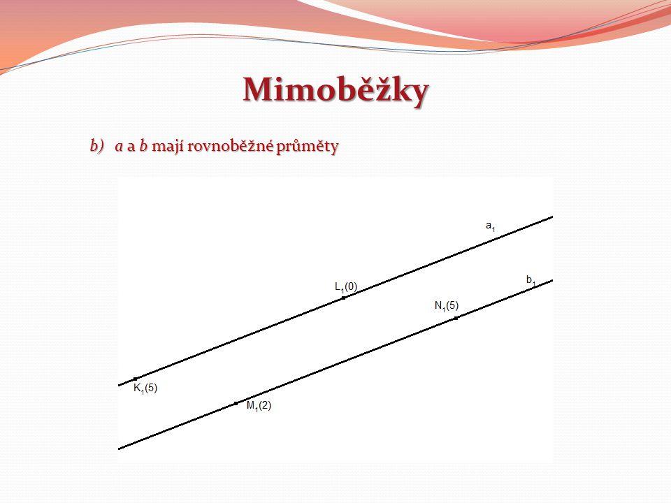 Mimoběžky a a b mají rovnoběžné průměty