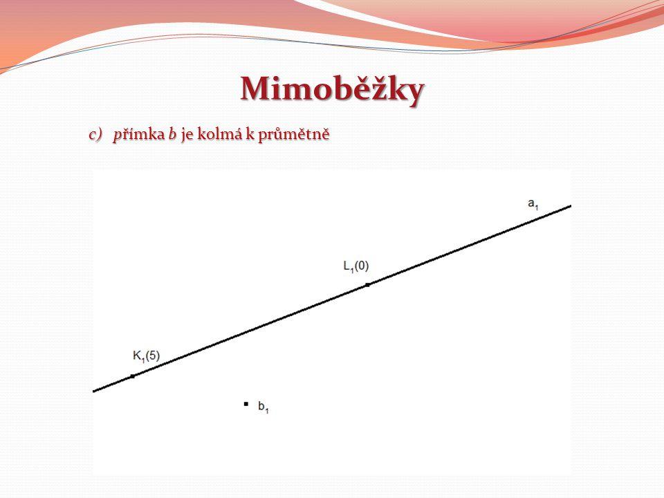 Mimoběžky přímka b je kolmá k průmětně