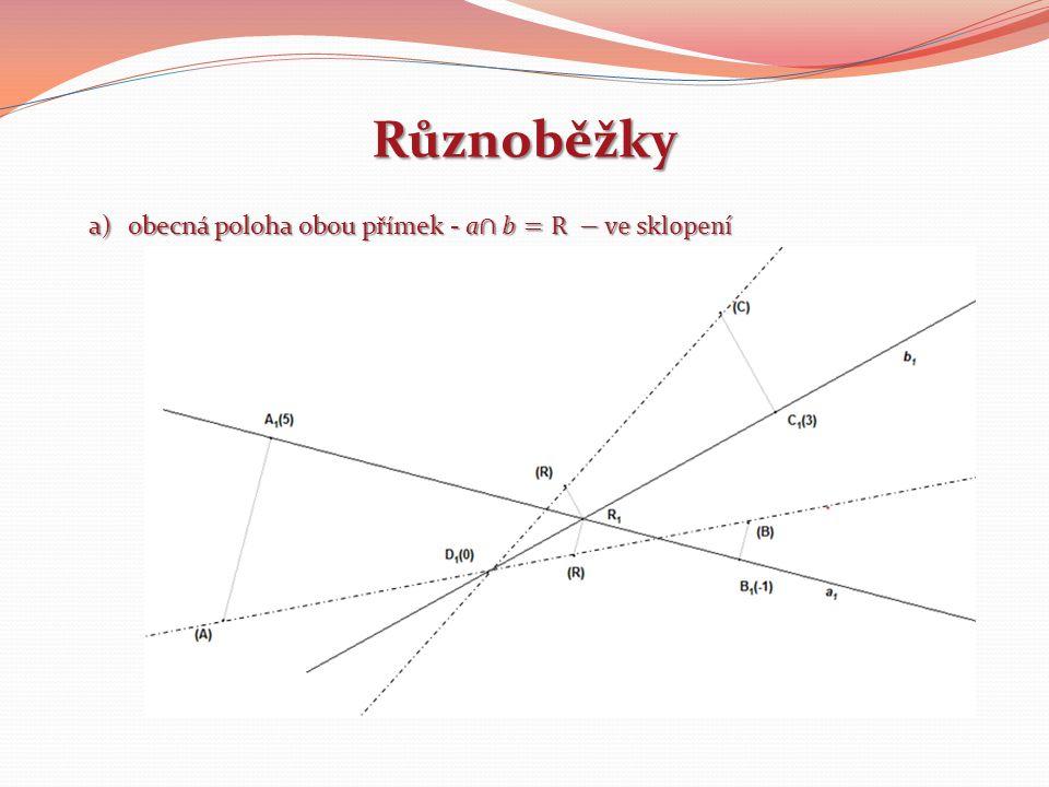 Různoběžky obecná poloha obou přímek - a∩𝑏=R −ve sklopení