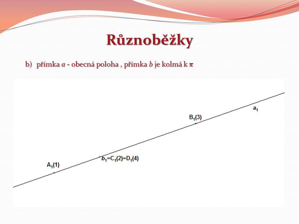 Různoběžky přímka a - obecná poloha , přímka b je kolmá k p