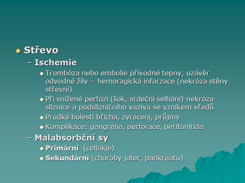 Střevo Ischemie Malabsorbční sy