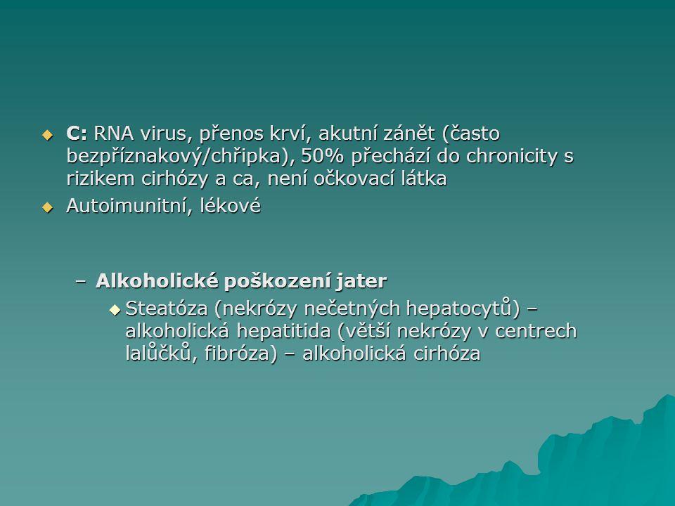 C: RNA virus, přenos krví, akutní zánět (často bezpříznakový/chřipka), 50% přechází do chronicity s rizikem cirhózy a ca, není očkovací látka