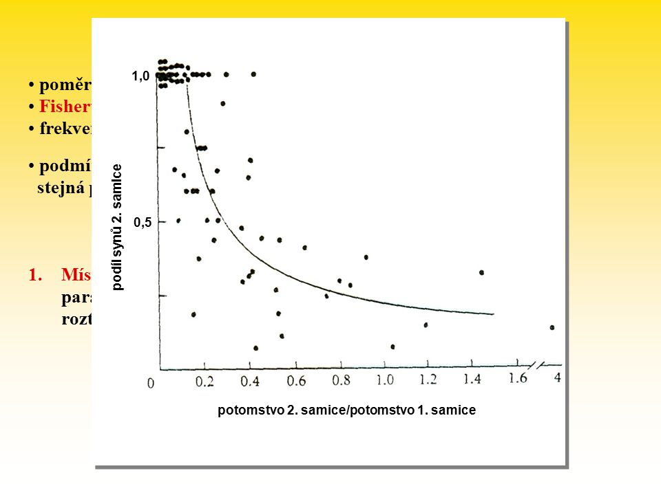 Poměr pohlaví poměr pohlaví často 1:1  proč plýtvání na samce