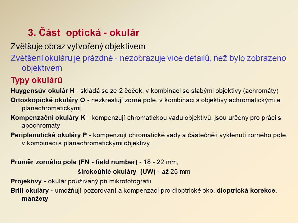 3. Část optická - okulár Zvětšuje obraz vytvořený objektivem