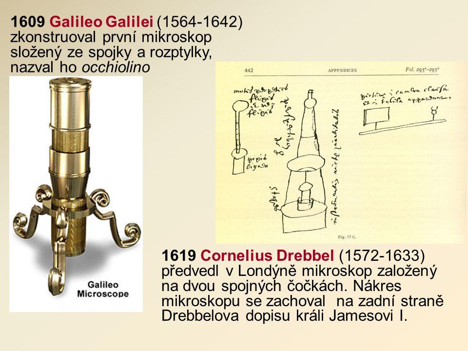1609 Galileo Galilei (1564-1642) zkonstruoval první mikroskop složený ze spojky a rozptylky, nazval ho occhiolino