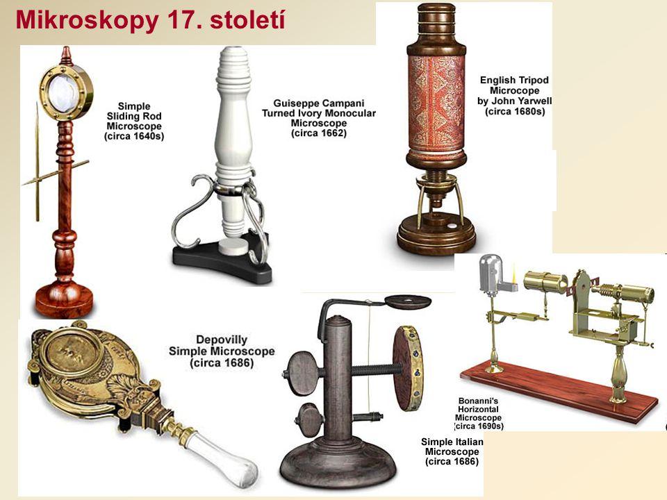 Mikroskopy 17. století Jednoduchý tyčovitý mikroskop, stal se základním tvarem použitým u ostatních jednoduchých mikroskopů po několik století.