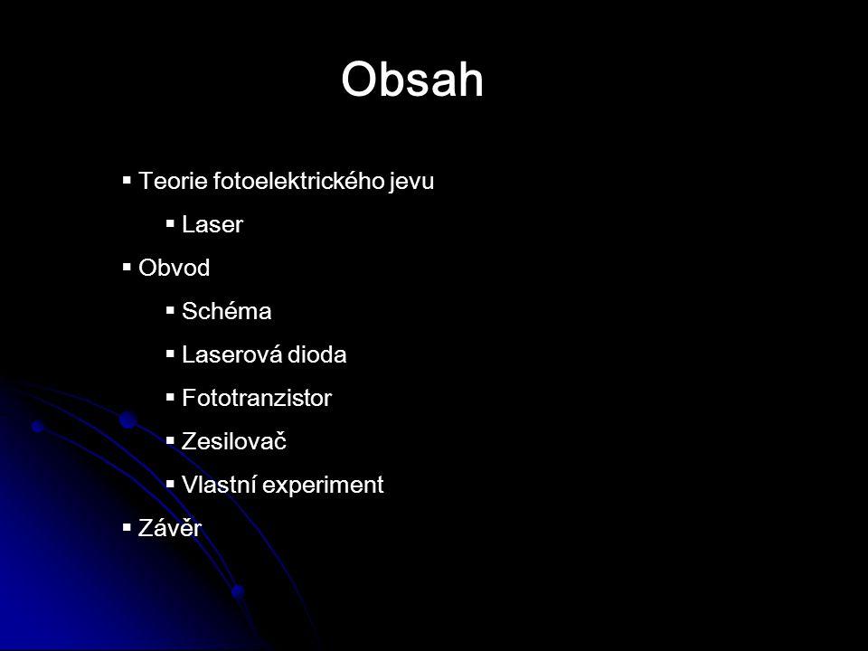 Obsah Teorie fotoelektrického jevu Laser Obvod Schéma Laserová dioda