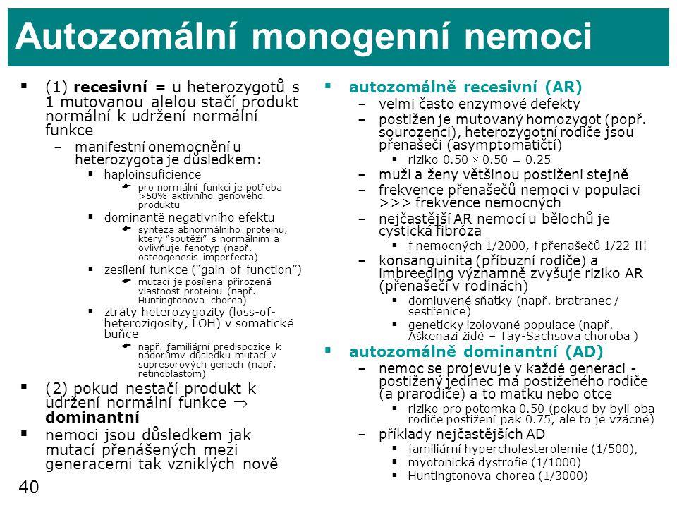Autozomální monogenní nemoci