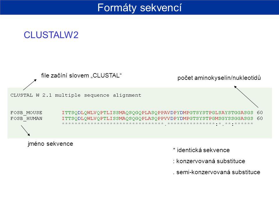 """Formáty sekvencí CLUSTALW2 file začíní slovem """"CLUSTAL"""