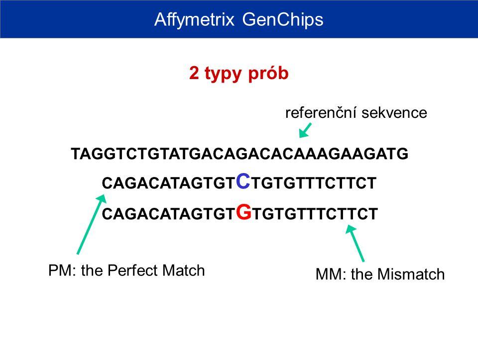 Affymetrix GenChips 2 typy prób referenční sekvence