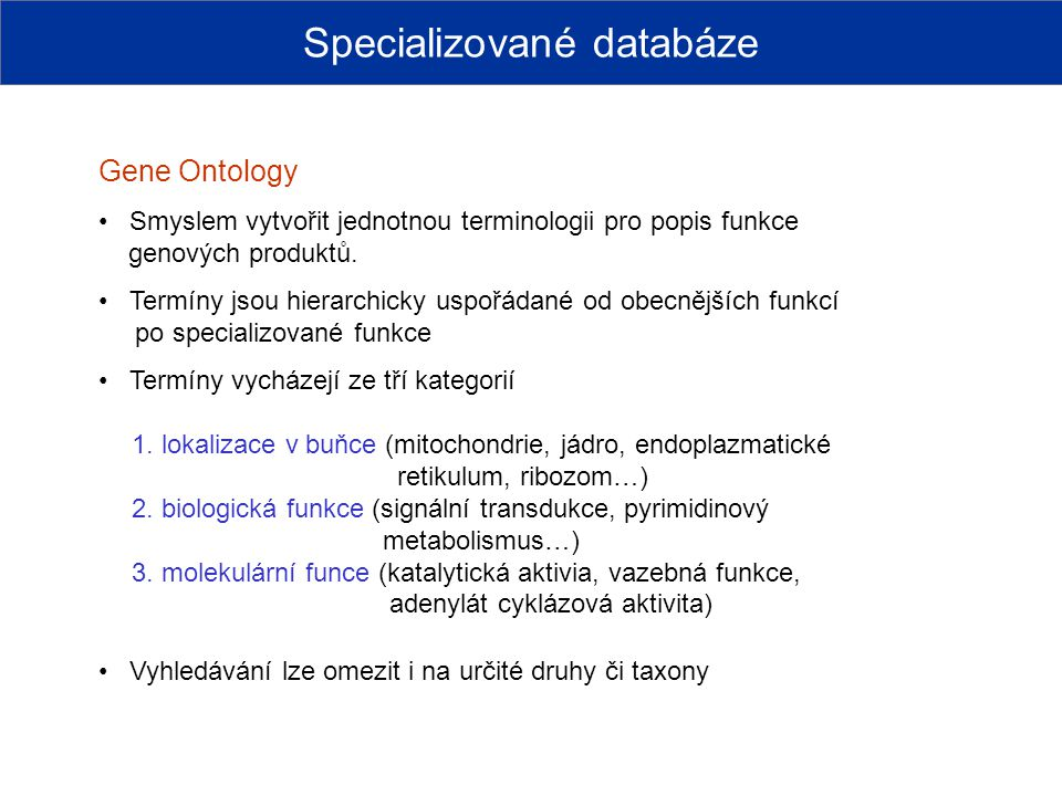 Specializované databáze