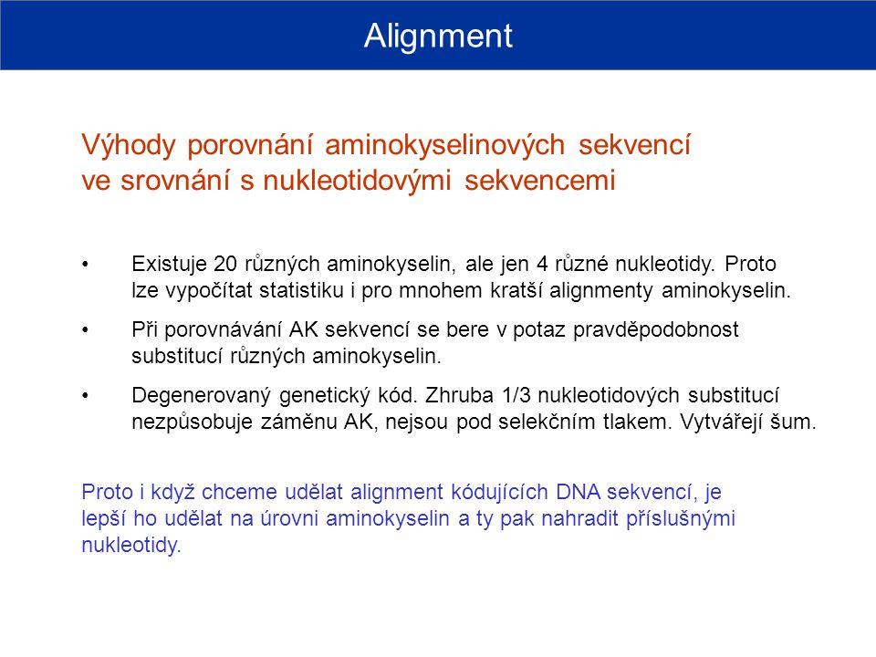 Alignment Výhody porovnání aminokyselinových sekvencí ve srovnání s nukleotidovými sekvencemi.