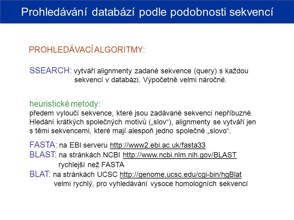 Prohledávání databází podle podobnosti sekvencí
