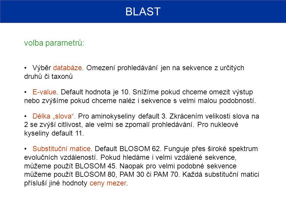 BLAST volba parametrů: