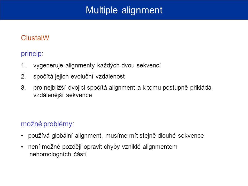 Multiple alignment ClustalW princip: možné problémy: