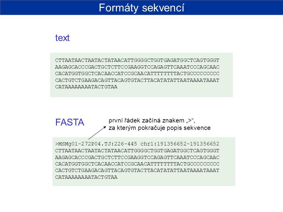 Formáty sekvencí text FASTA