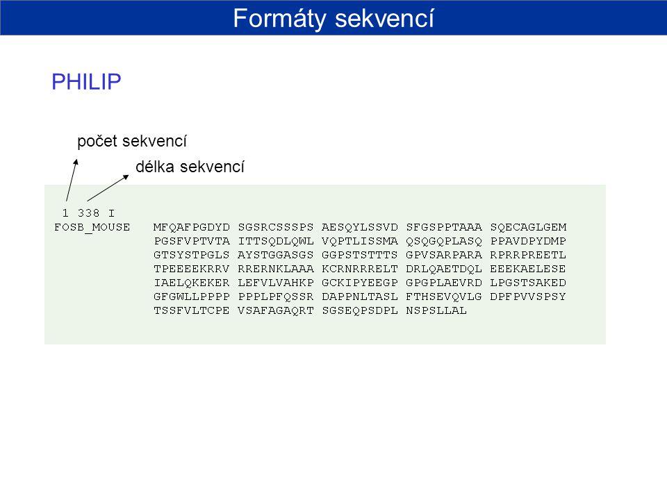 Formáty sekvencí PHILIP počet sekvencí délka sekvencí