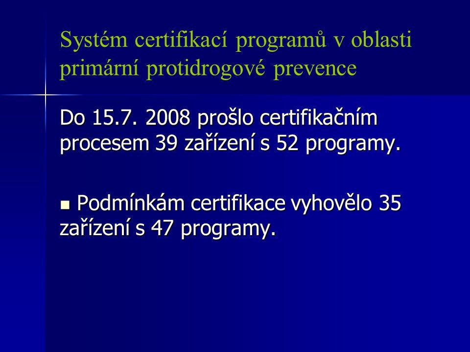 Systém certifikací programů v oblasti primární protidrogové prevence