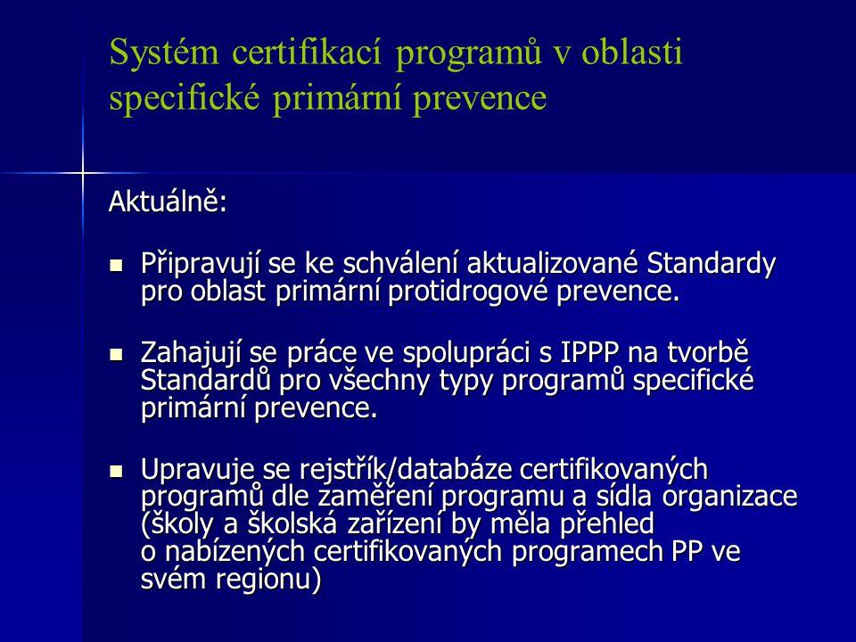 Systém certifikací programů v oblasti specifické primární prevence