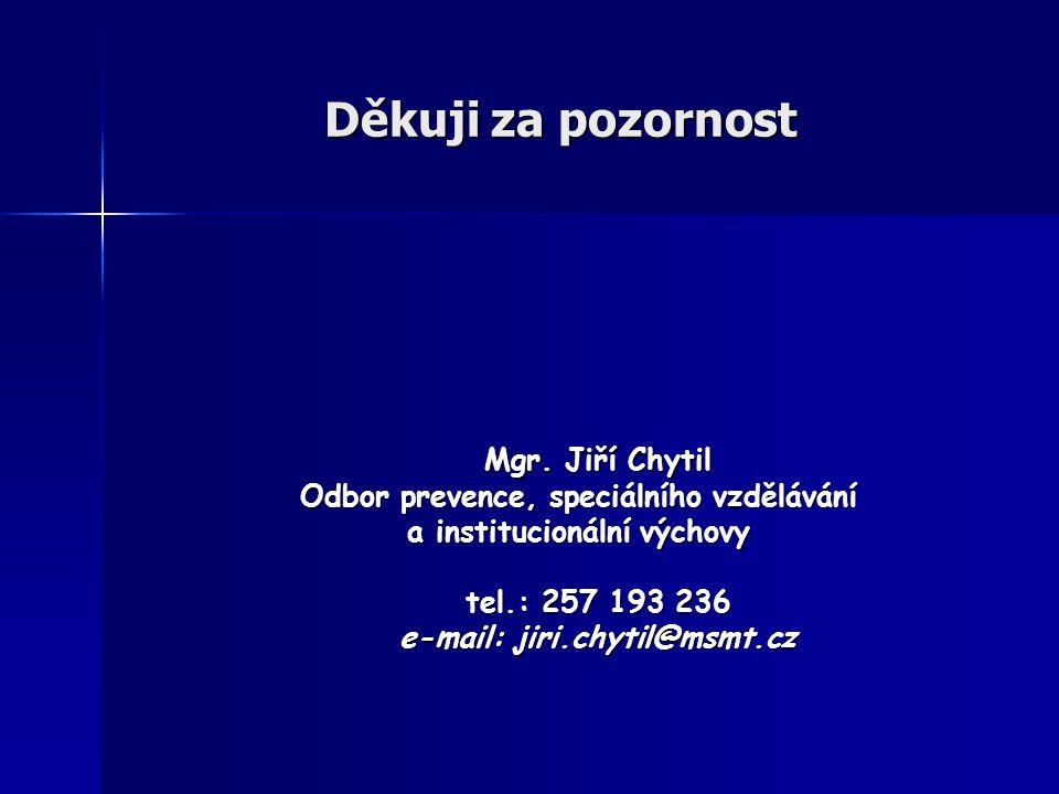 Děkuji za pozornost Mgr. Jiří Chytil