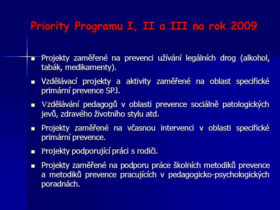 Priority Programu I, II a III na rok 2009
