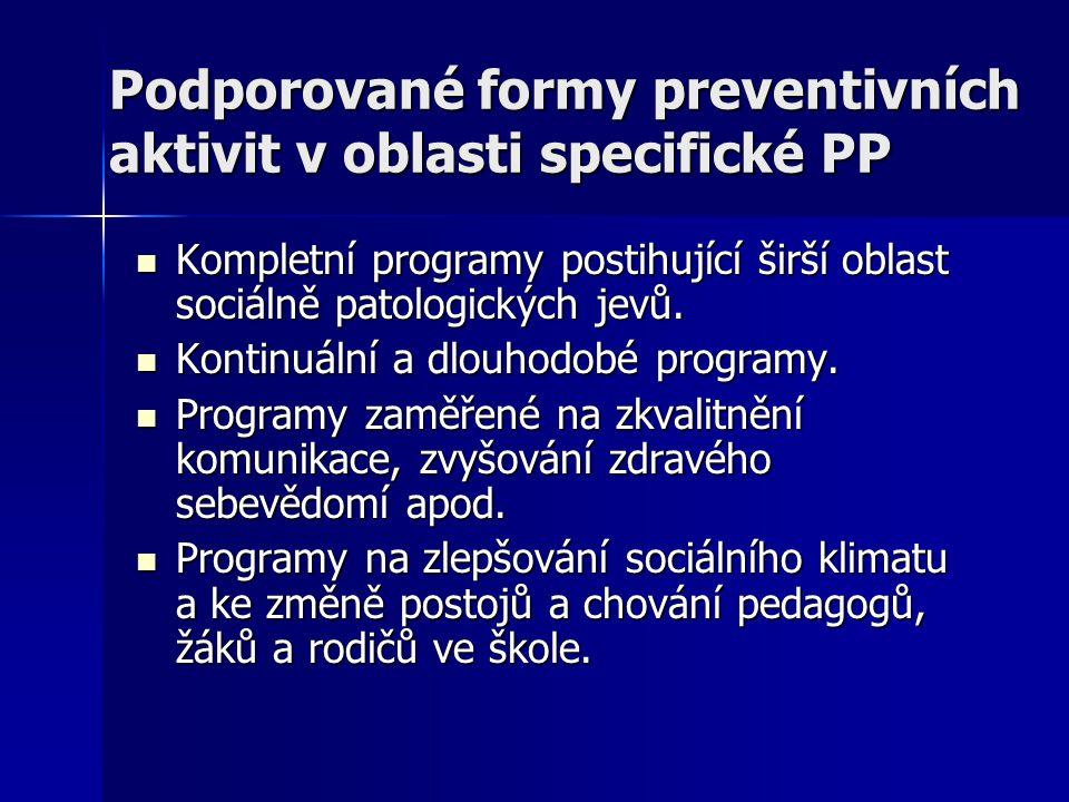 Podporované formy preventivních aktivit v oblasti specifické PP