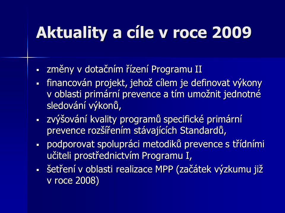 Aktuality a cíle v roce 2009 změny v dotačním řízení Programu II