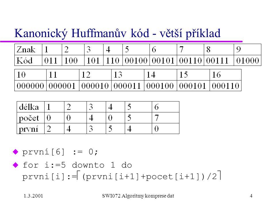 Kanonický Huffmanův kód - větší příklad
