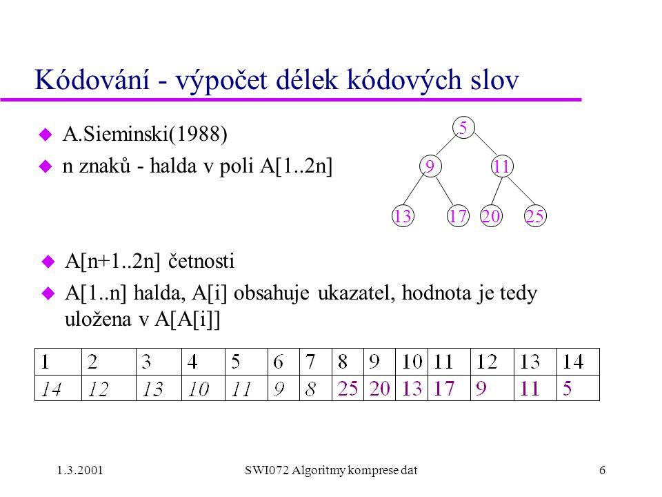 Kódování - výpočet délek kódových slov