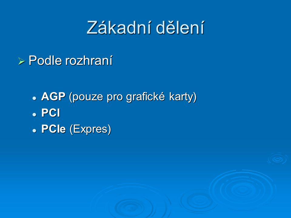 Zákadní dělení Podle rozhraní AGP (pouze pro grafické karty) PCI