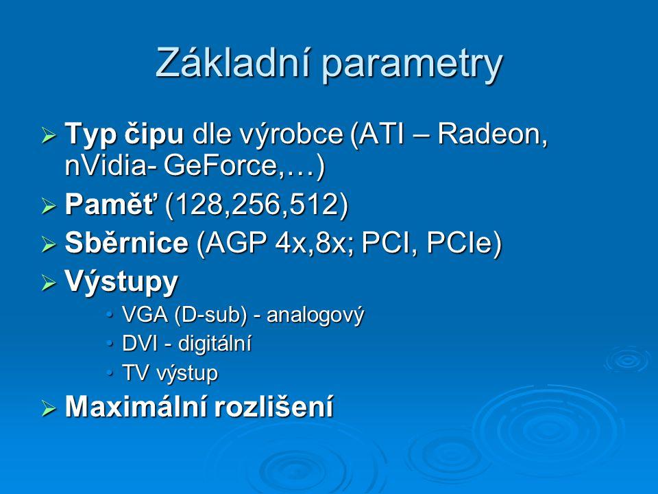 Základní parametry Typ čipu dle výrobce (ATI – Radeon, nVidia- GeForce,…) Paměť (128,256,512) Sběrnice (AGP 4x,8x; PCI, PCIe)