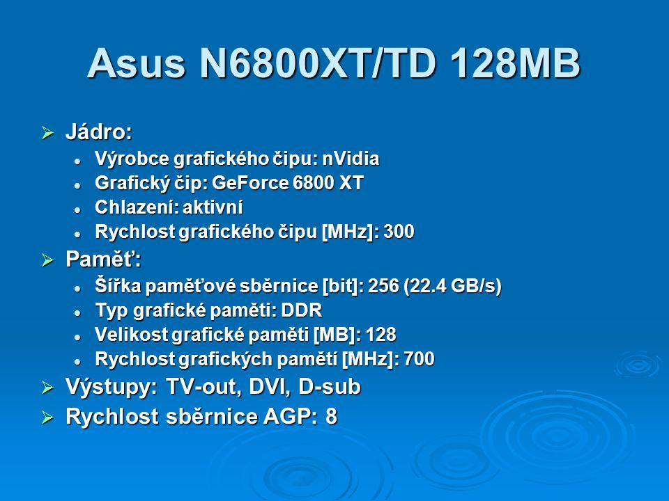 Asus N6800XT/TD 128MB Jádro: Paměť: Výstupy: TV-out, DVI, D-sub