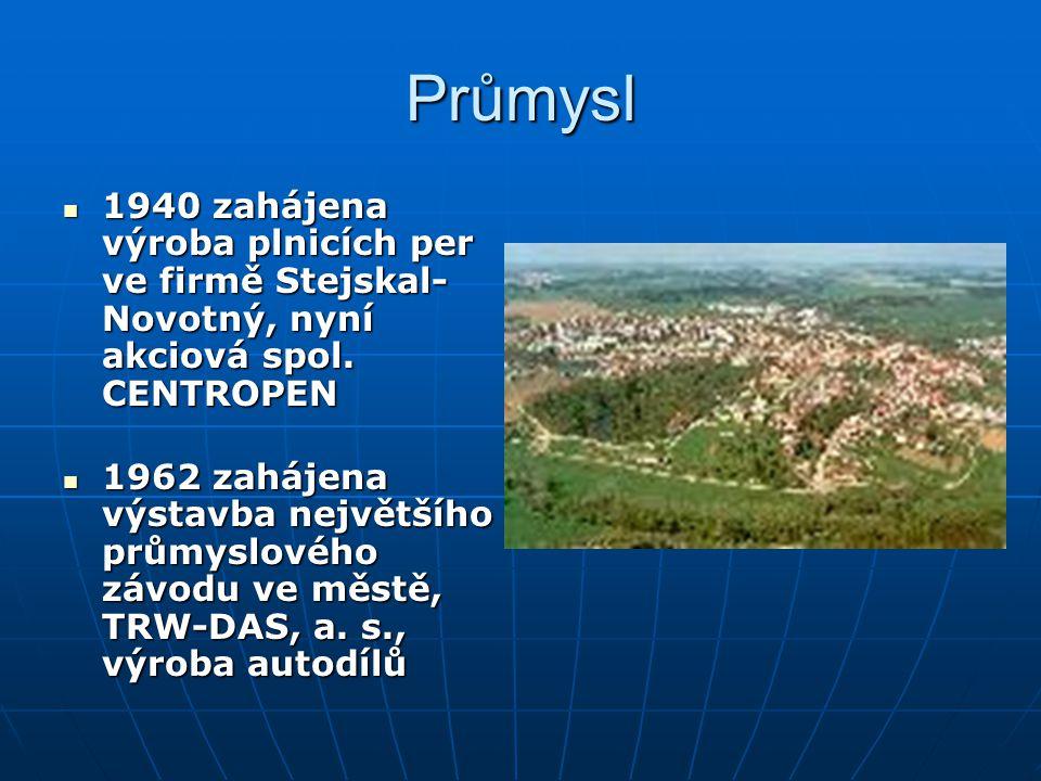 Průmysl 1940 zahájena výroba plnicích per ve firmě Stejskal-Novotný, nyní akciová spol. CENTROPEN.