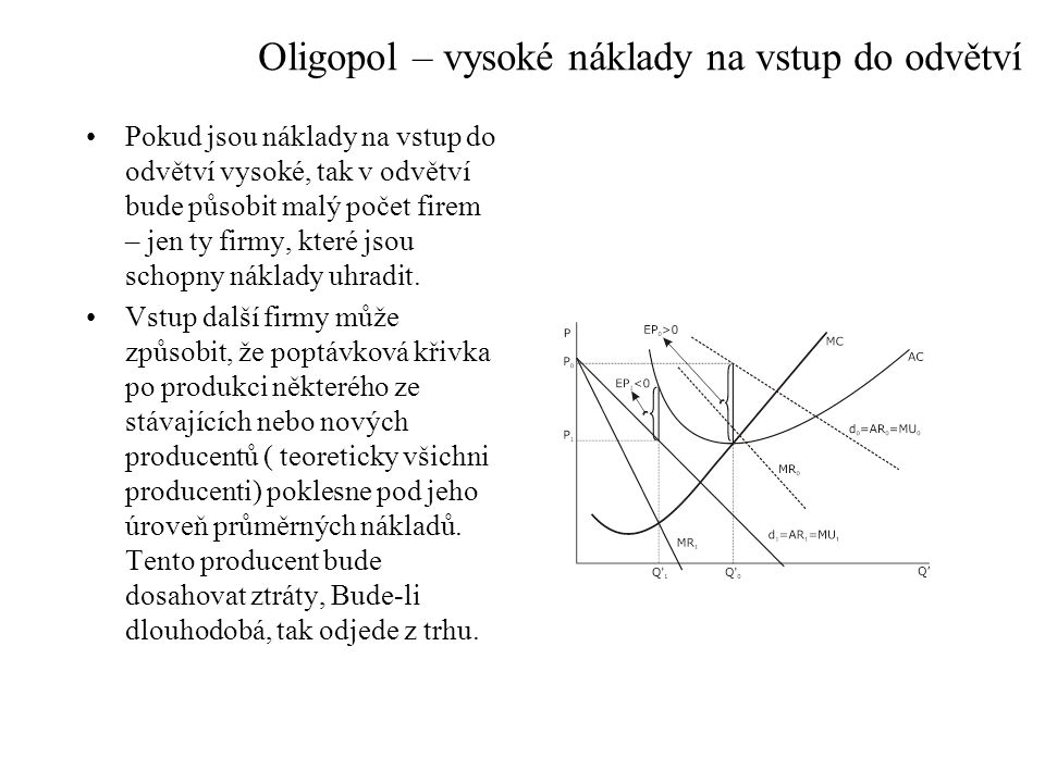 Oligopol – vysoké náklady na vstup do odvětví