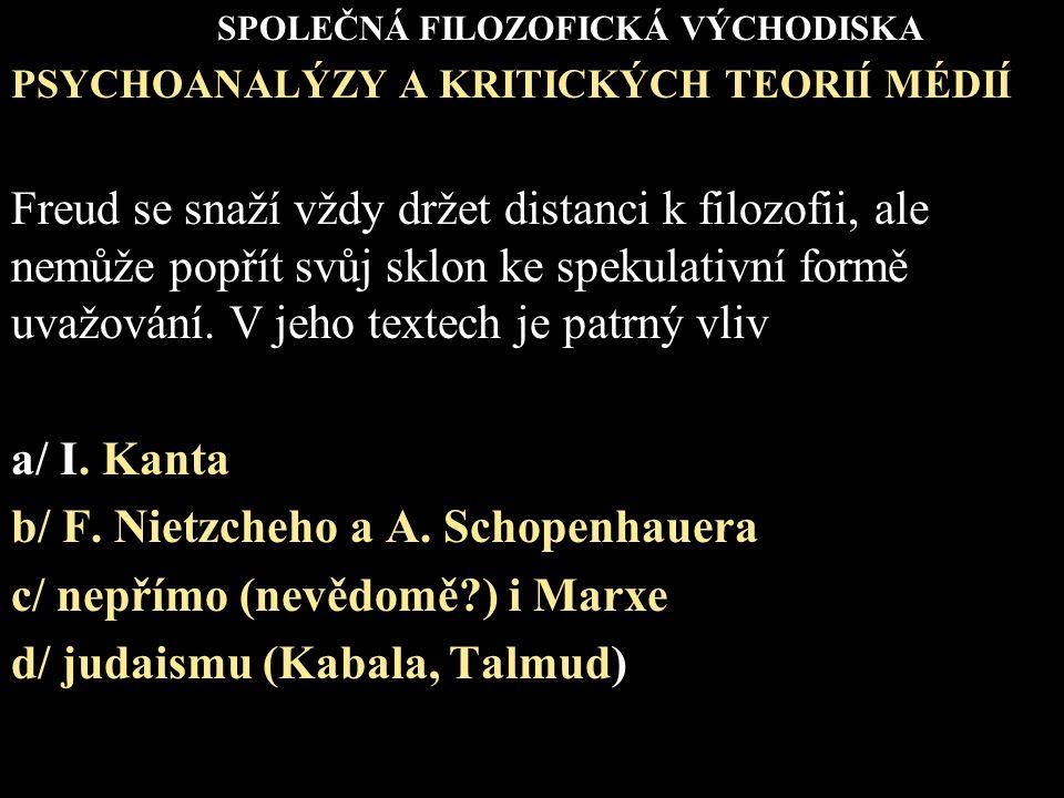 b/ F. Nietzcheho a A. Schopenhauera c/ nepřímo (nevědomě ) i Marxe
