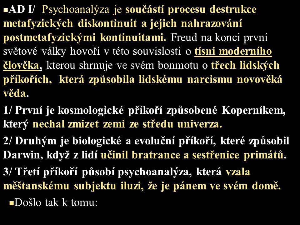 AD I/ Psychoanalýza je součástí procesu destrukce metafyzických diskontinuit a jejich nahrazování postmetafyzickými kontinuitami. Freud na konci první světové války hovoří v této souvislosti o tísni moderního člověka, kterou shrnuje ve svém bonmotu o třech lidských příkořích, která způsobila lidskému narcismu novověká věda.