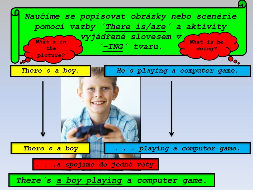 There´s a boy playing a computer game.