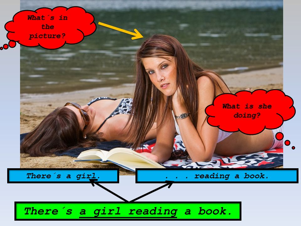 There´s a girl reading a book.