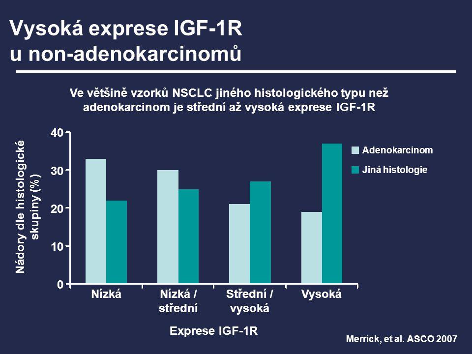 Vysoká exprese IGF-1R u non-adenokarcinomů