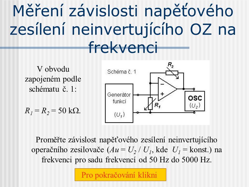 Měření závislosti napěťového zesílení neinvertujícího OZ na frekvenci