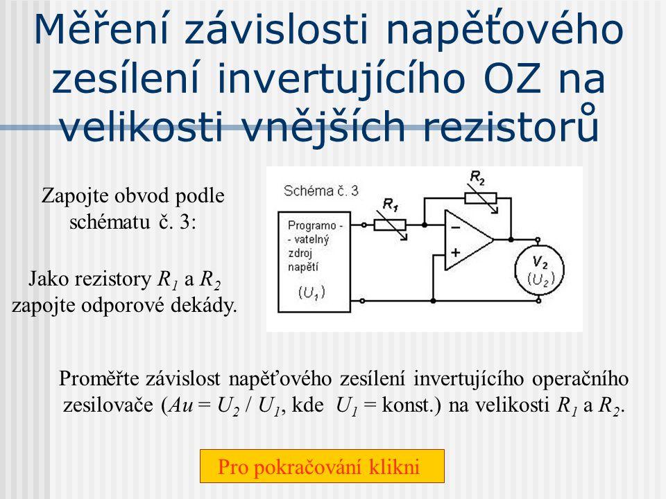 Měření závislosti napěťového zesílení invertujícího OZ na velikosti vnějších rezistorů
