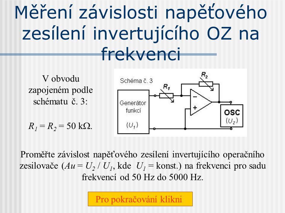 Měření závislosti napěťového zesílení invertujícího OZ na frekvenci
