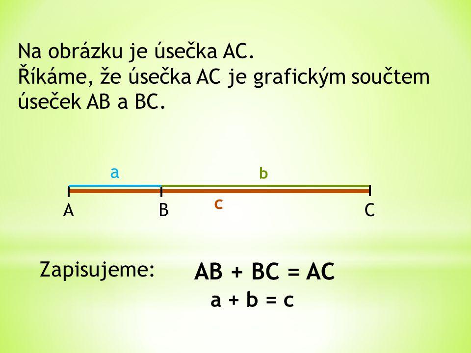 AB + BC = AC Na obrázku je úsečka AC.