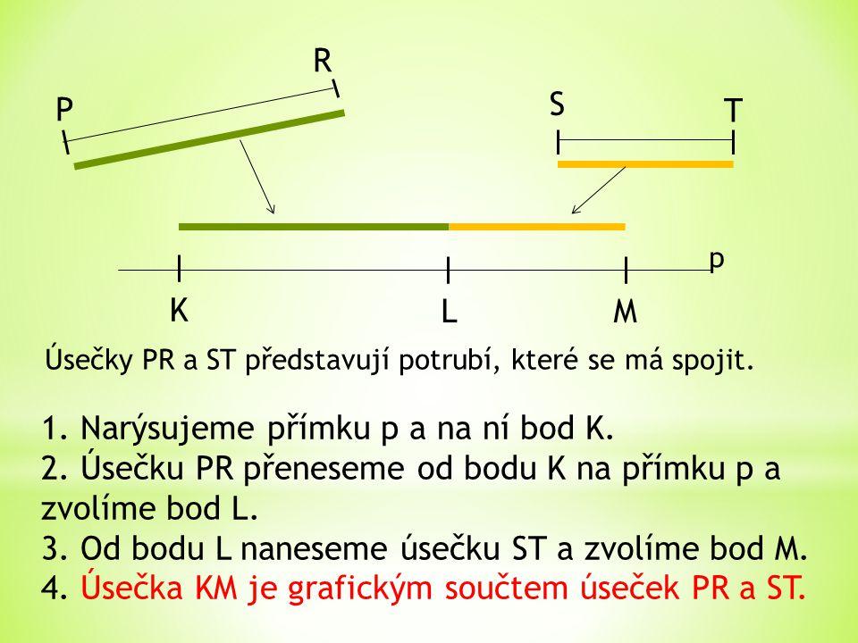 1. Narýsujeme přímku p a na ní bod K.