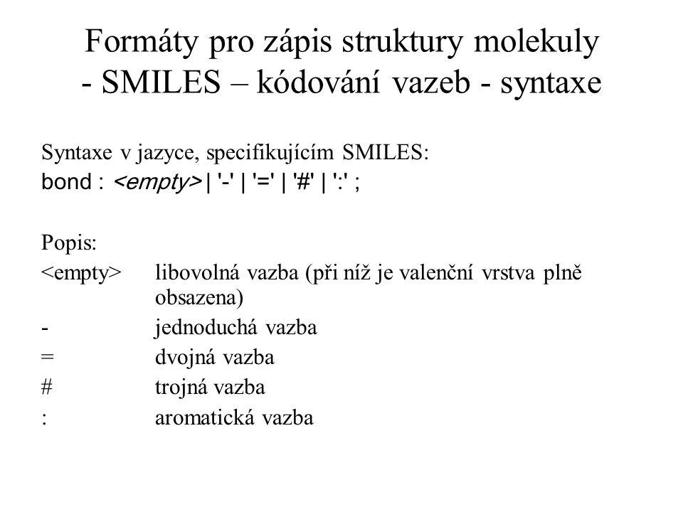 Formáty pro zápis struktury molekuly - SMILES – kódování vazeb - syntaxe