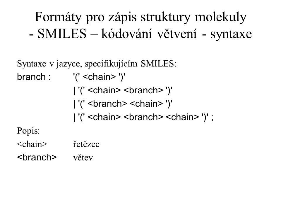Formáty pro zápis struktury molekuly - SMILES – kódování větvení - syntaxe