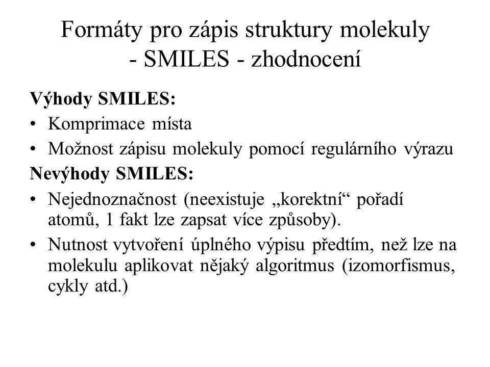 Formáty pro zápis struktury molekuly - SMILES - zhodnocení