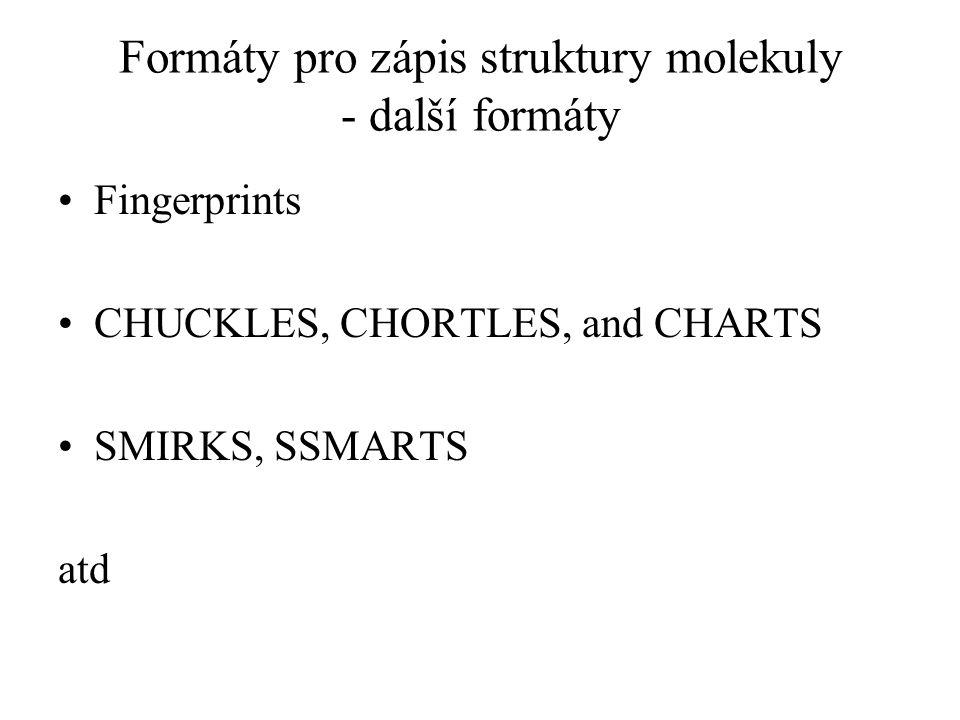 Formáty pro zápis struktury molekuly - další formáty