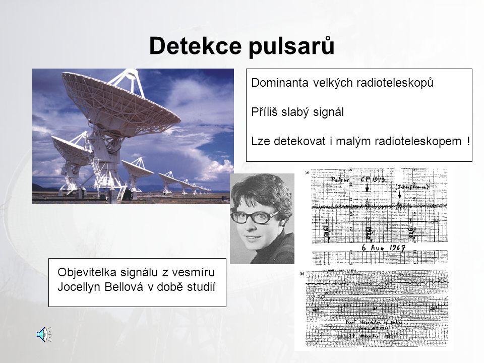 Detekce pulsarů Dominanta velkých radioteleskopů Příliš slabý signál