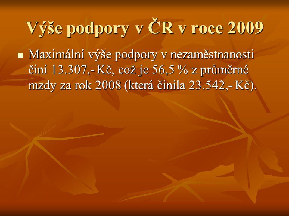 Výše podpory v ČR v roce 2009